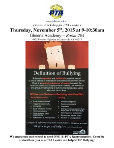 Bullying Workshop for PTA Leaders